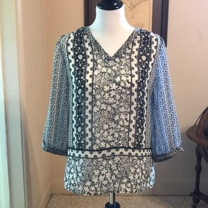 Black and White Tunic Blouse